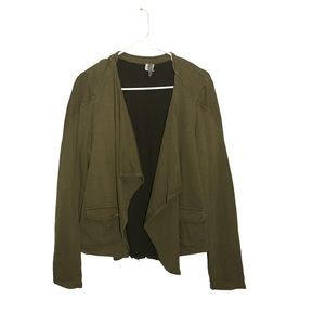 XCVI Olive Green & Brown Cascading Open Cardigan M